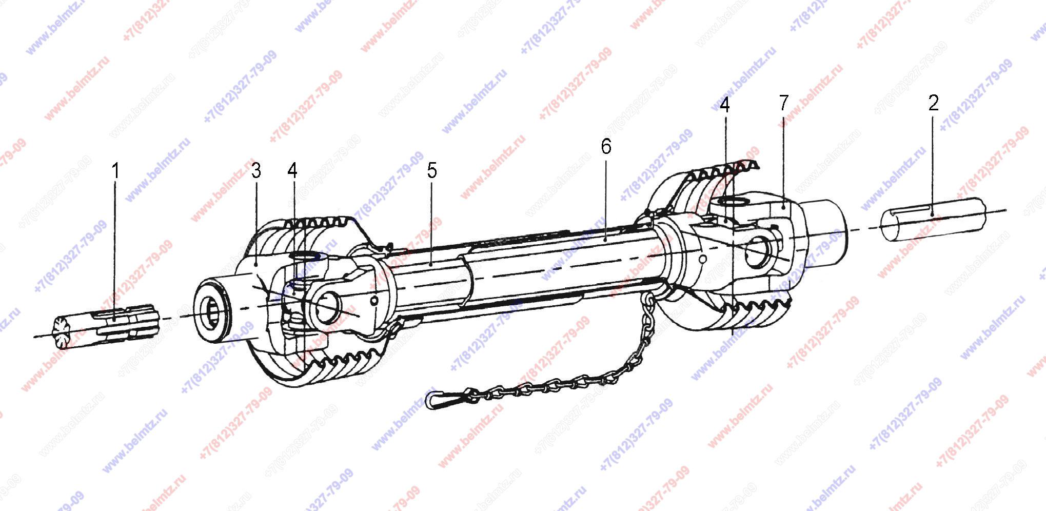 Вал карданный мтз-80,82,1221 привода щетки в кожухе (8 шлиц+