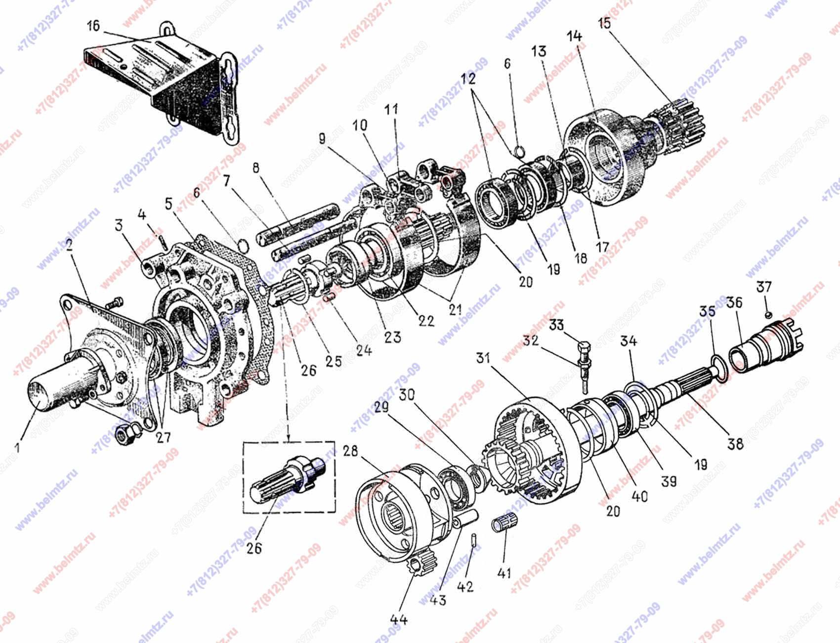 Мтз-80 схема привода вом